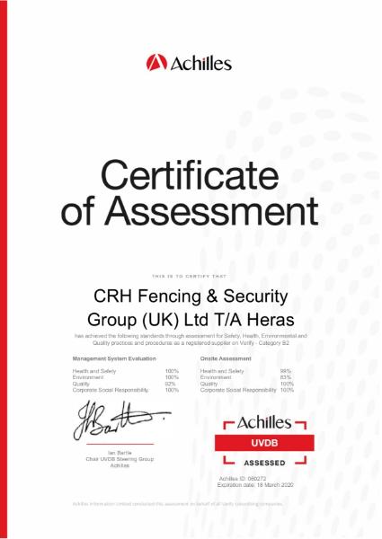 Achilles UVDB Audit Certificate