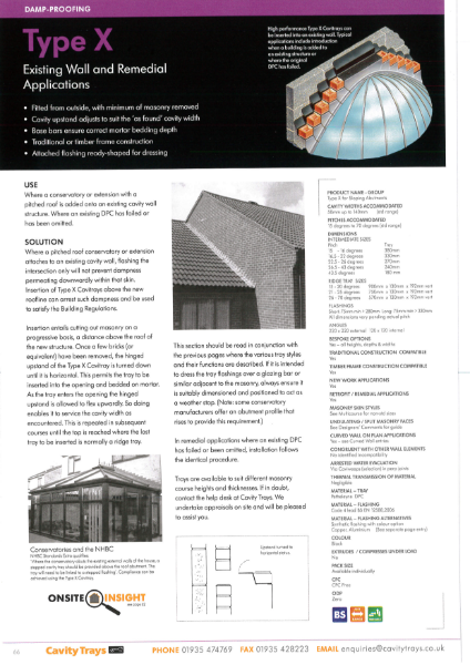 Type X remedial stepped cavity tray sloping pitch roof gable abutment existing wall