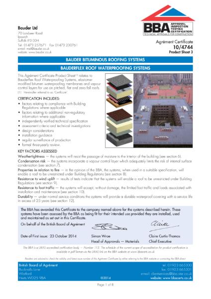 BAUDERFLEX ROOF WATERPROOFING SYSTEMS