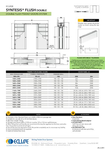 Syntesis® DOUBLE Flush Pocket Door System