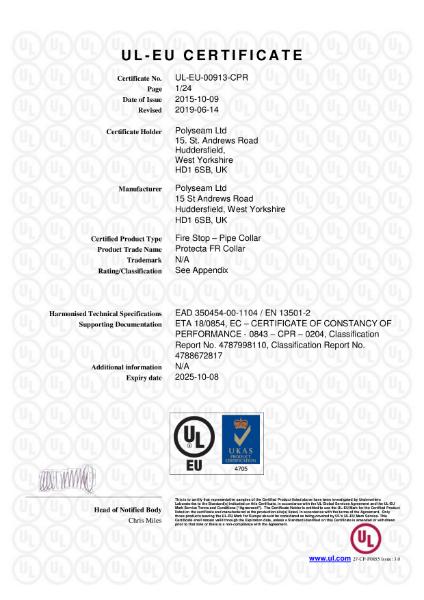 Protecta FR Collar - UL-EU Certificate