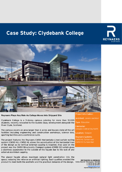 Case Study: Clydebank College, featuring CW 50 curtain wall