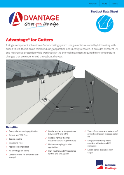 Advantage for Gutters - Product Data Sheet