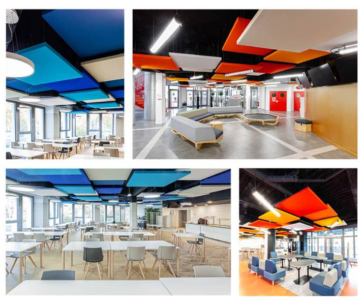 THE ACOUSTICS OF A UNIVERSITY RESTAURANT HAS BECOME COLOURFUL