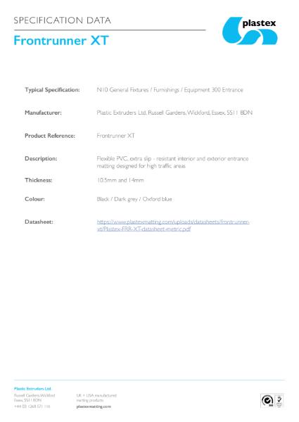 Frontrunner XT Specification Data