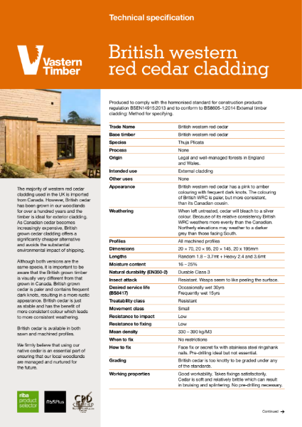 British western red cedar profiled external timber cladding
