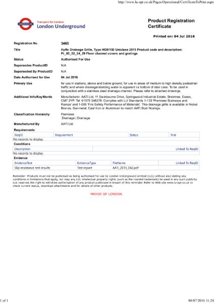 AATi certificate for AATi Anti-slip Drainage Grille ref: HG9/150 Hyflo