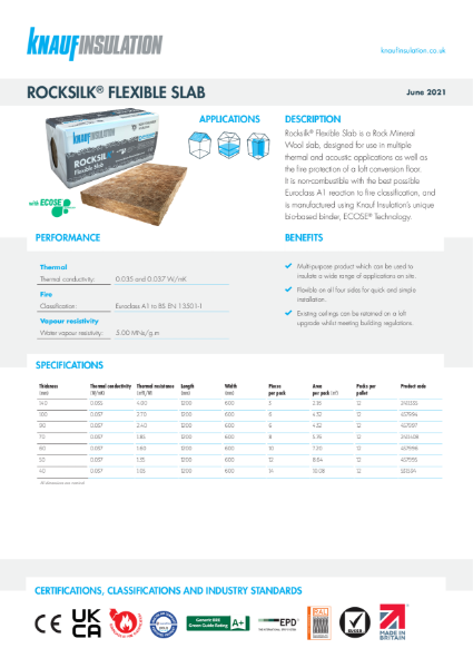 Knauf Insulation Rocksilk® Flexible Slab Insulation Data Sheet