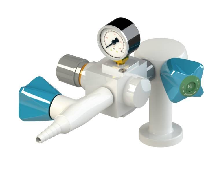 Table mounted laboratory 0-8,5 bar pressure regulator purity level 2.0