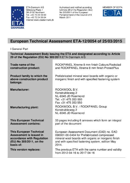European Technical Assessmentl ETA-12/0054 Certificate
