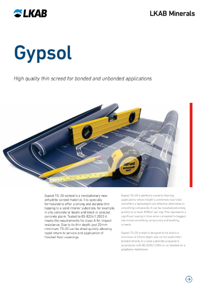 Gypsol TS-20 Thin flowing screed for bonded and unbonded applications