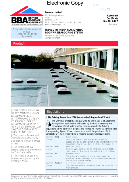 Tremco Hi-Therm roof waterproofing system