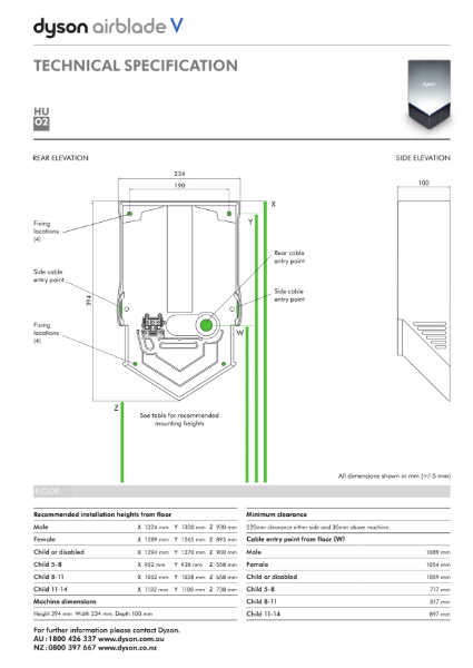 Technical specification - Dyson Airblade V
