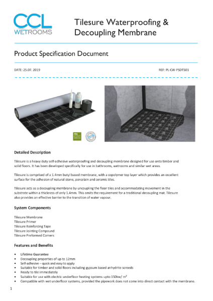 Tilesure Waterproofing & Decoupling Membrane - Product Specification