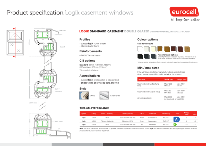 Logik Casement DG Standard Window Product Specification