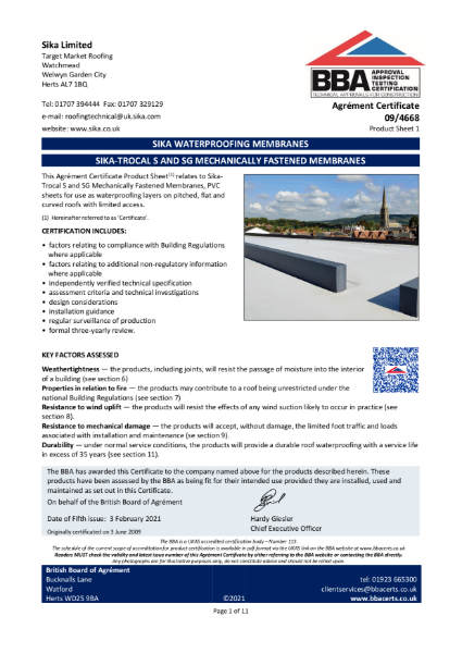 09/4668 SIKA-TROCAL S AND SG MECHANICALLY FASTENED MEMBRANES
