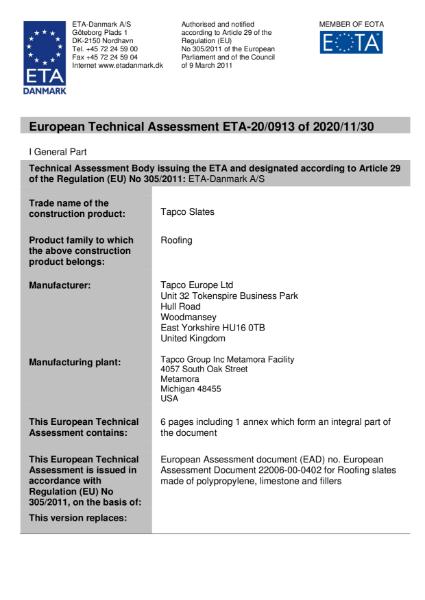 TapcoSlate Classic ETA Certificate