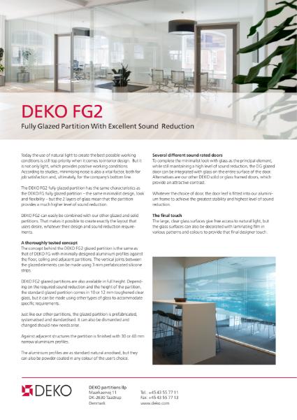 Deko FG 2 Double Glazed Frameless Screen