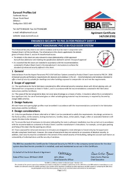 ENHANCED SECURITY TO PAS 24 FOR PRODUCT SHEET 3