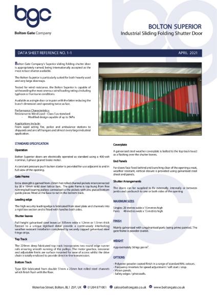 Bolton Superior - Industrial Sliding Folding Shutter Door