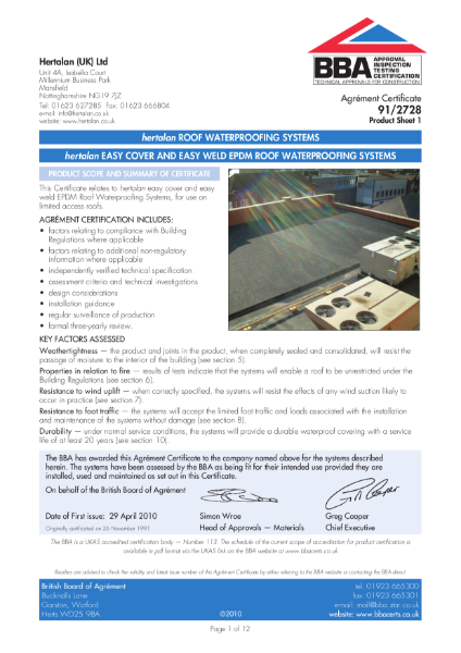 91/2728 Easy Cover and Easy Weld EPDM Roof Waterproofing System