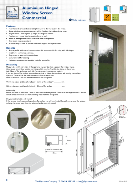 Aluminium Hinged Window Screen - Commercial