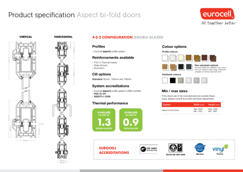 Aspect PVC-U 4-2-2 Bi-Fold Door Product Specification