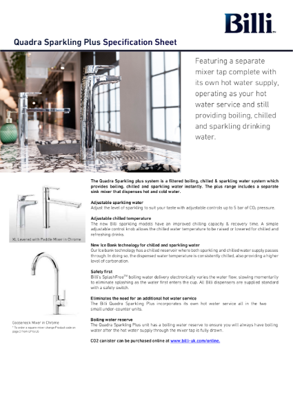 Billi Quadra Sparkling Plus - Filtered Water System - Data Sheet