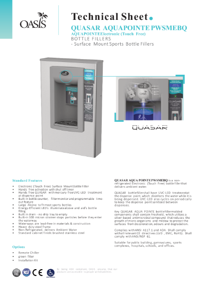 PWSMEBQ Surface Mount Hands-Free Bottle Filler With QUASAR UV Out
