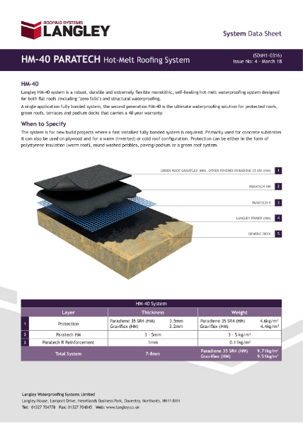 HM-40 Paratech Hot-Melt Roofing System Data Sheet