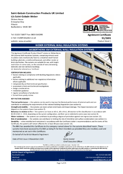 91/2691 Weber.Therm XM External Wall Insulation System (Product Sheet 5)