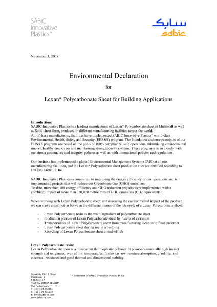 Environmental declaration for Lexan polycarbonate sheet for building applications