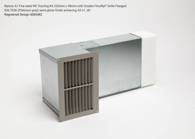 Rytons A1 Fire-rated 90° Ducting Kit 220mm x 90mm with Double Air Brick Grille