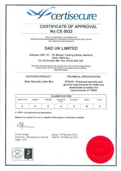 TS009:2012 Certification Grade 2