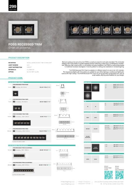 Foss Recessed Trim Adjustable Modular Linear Lighting Datasheet