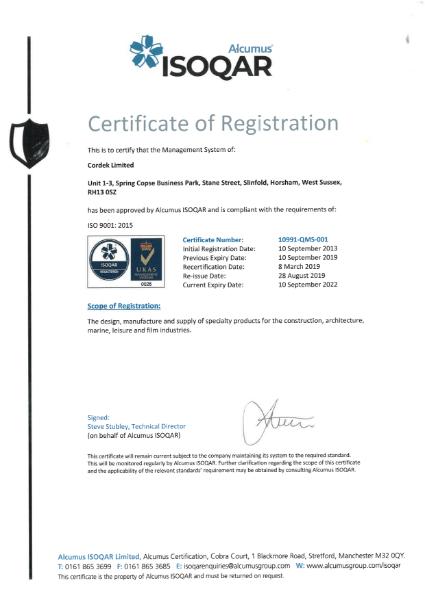ISO 9001 Certificate - Cordek Ltd