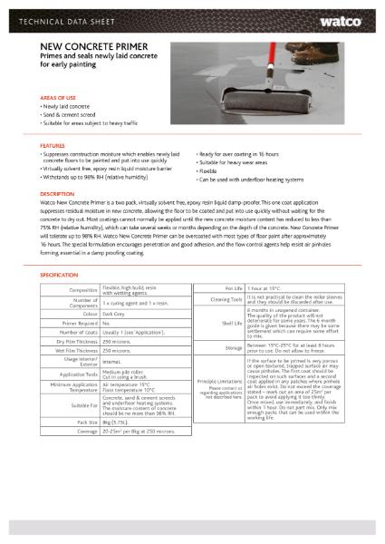 Data Sheet: New Concrete Primer