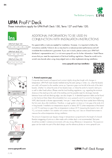 UPM ProFi Deck range installation extra sheet