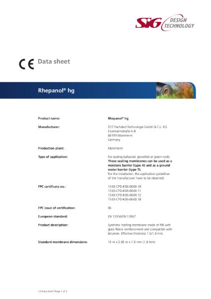 FDT Rhepanol hg PIB Single Ply Roofing Membrane Datasheet
