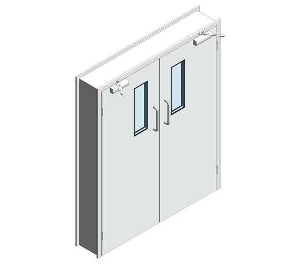 Hygienic Hinged GRP Fire Doors - 60 Min FR - Pair (SS frame)