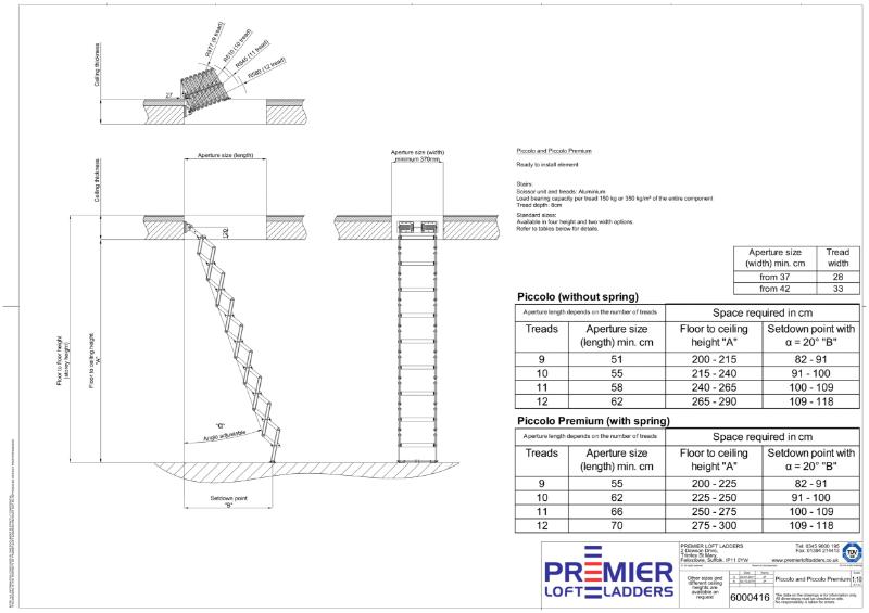 Space-saving loft ladder - Piccolo and Piccolo Premium