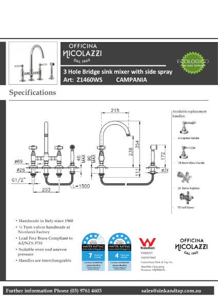 Z1460WS Campania technical specifications.