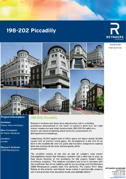 Case Study: 198-202 Piccadilly featuring CS 68 aluminium windows