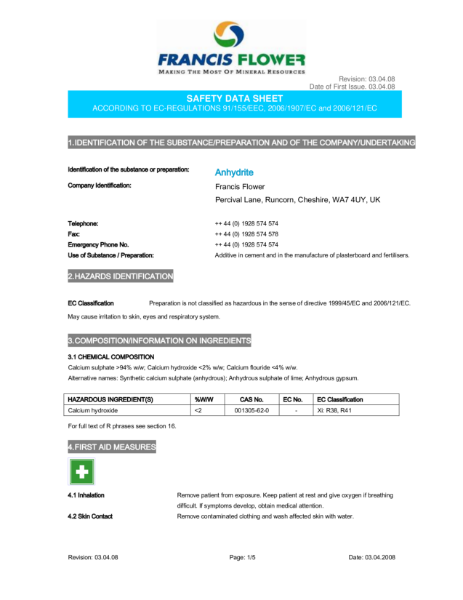 Gypsol Material Safety Data Sheet