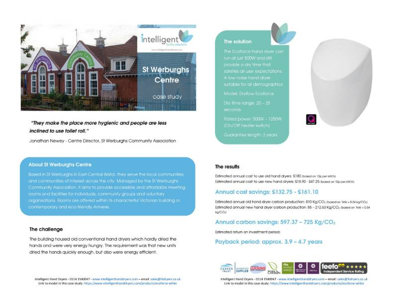 Hand Dryer Case Study (Community Centre) - St Werburghs Centre, Bristol