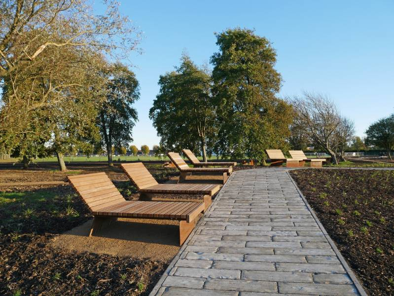 Co-ordinated corten external seating for North Portsea Island