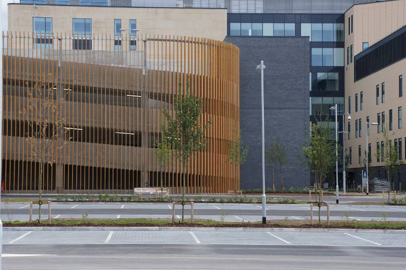 MicroShades Brunnea treated Redwood Timber Screening Case Study - NORclad - Southmead Hospital Car Park