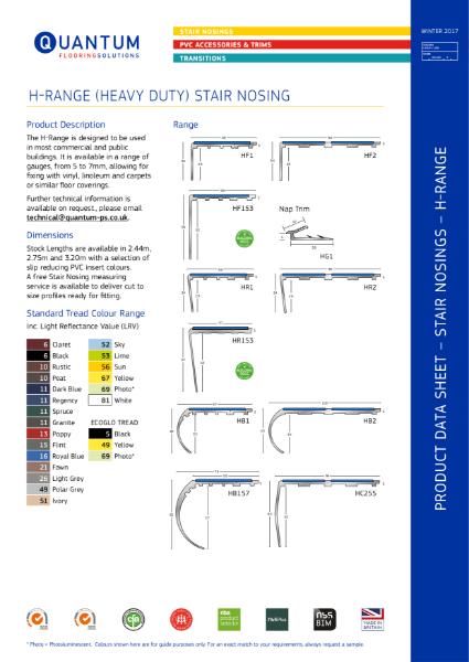 Quantum Flooring Heavy Duty Range Stair Nosing - Stair Edging (3.5mm to 9mm Floorcoverings) Product Data Sheet