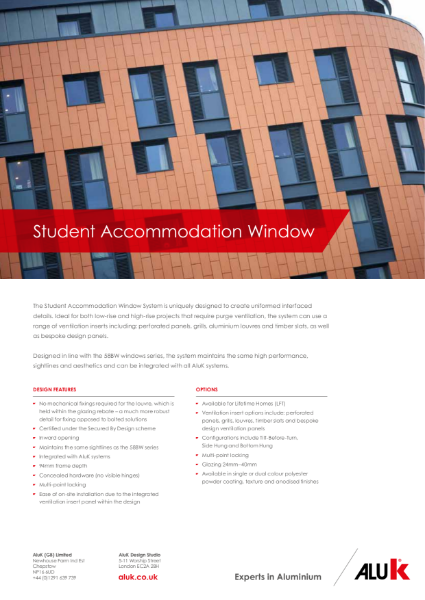 AluK Student Accommodation Window System Datasheet