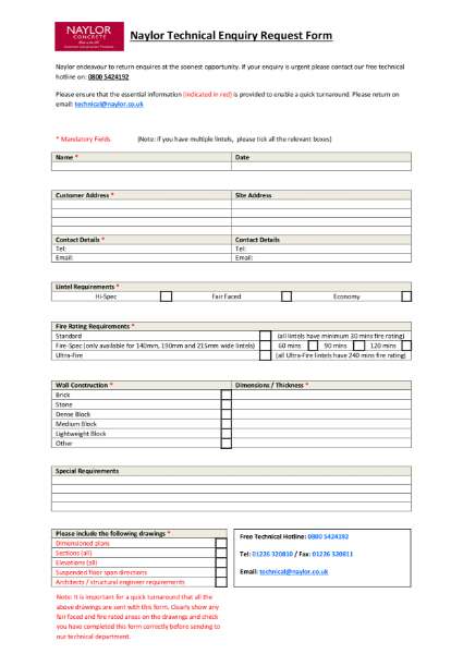Naylor Concrete - Technical Enquiry Form